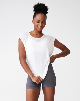 Cotton On Body Active - Women's White Short Sleeve T-Shirts - Active Scoop Hem T-Shirt - Size XS at The Iconic