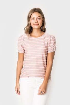 Gibson Striped Ruched Sleeve Tee