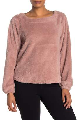 Bobeau Scoop Neck Faux Shearling Pullover (Regular & Petite)