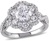Ice Julie Leah 1 7/8 CT TW Diamond Flower Engagement Ring in 14k White Gold