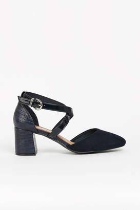 Wallis WIDE FIT Navy Cross Strap Block Heels