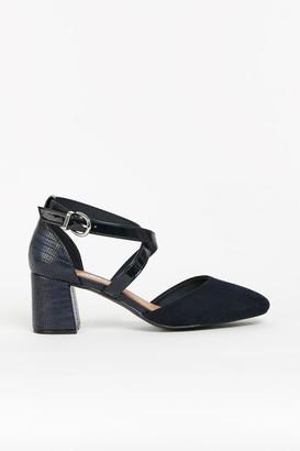 Wallis **WIDE FIT Navy Cross Strap Block Heels