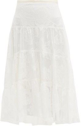 See by Chloe Floral-embroidered Tiered Mesh Skirt - Womens - Ivory