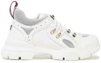 Gucci Mesh, Leather And Canvas Sneakers