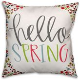 Designs Direct Hello Spring Square Throw Pillow in Pink/Green