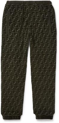 Fendi Tapered Logo-Jacquard Cotton-Blend Velour Sweatpants