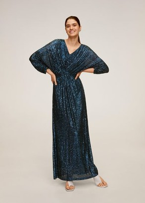 MANGO Sequined gown petrol blue - 4 - Women
