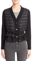 Moncler Women's Quilted Down Front Wool Cardigan