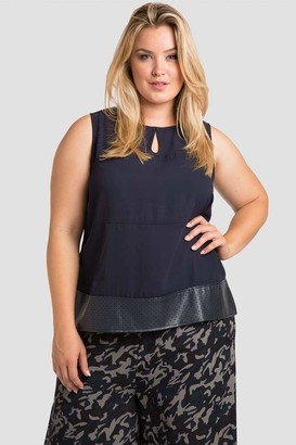 Standards & Practices Blake Vegan Tunic Top in Navy Blue Size 1X Polyester/Vegan Leather