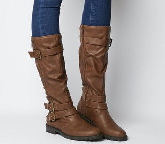 Office Kirsty Flat Buckle Knee Boots Choc