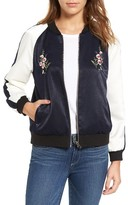 Cupcakes And Cashmere Women's Birch Embroidered Satin Bomber Jacket