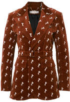 Chloé Embroidered Cotton-blend Velvet Blazer - Brown