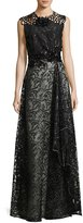 Talbot Runhof Noldin Sequined Cutout Mixed-Media Gown, Black
