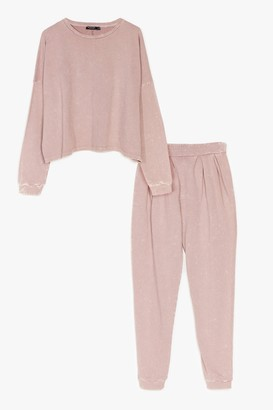 Nasty Gal Womens Hey Acid Wash Up Sweatshirt and Joggers Set - Pink - 6