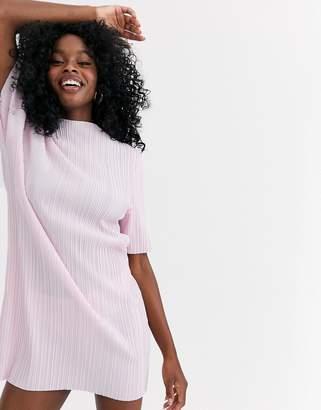 Asos Design DESIGN plisse high neck t shirt dress-Pink