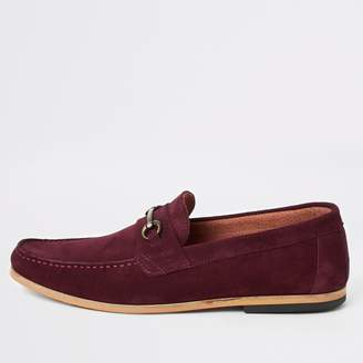 River Island Mens Red suede snaffle loafers