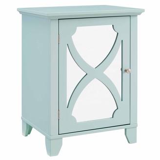 Linon Winnie Seafoam Small Cabinet with Mirrored Door