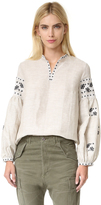 Cynthia Rowley Embroidered Bohemian Blouse