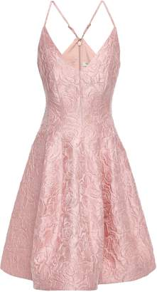 Halston Flared Brocade Mini Dress