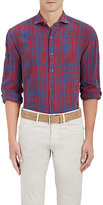 Barneys New York Men's Checked Linen Dress Shirt
