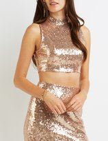 Charlotte Russe Sequin Open Back Crop Top
