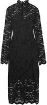 GANNI - Flynn Stretch-lace Turtleneck Dress - Black