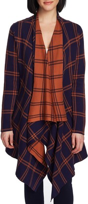 Chaus Plaid Long Double Knit Cardigan