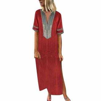 Sonojie Clearance sale Womens Fashion Nature Boho Loose Printed Short Sleeve V-Neck National Style Maxi Dress Hem Baggy Kaftan Long Dress Yellow