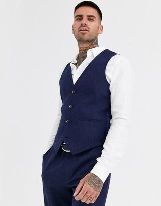 Harry Brown wedding tweed heritage slim fit waistcoat-Navy