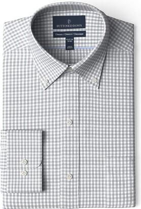 Buttoned Down Men's Classic Fit Button Collar Pattern Non-Iron Dress Shirt
