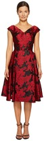 Zac Posen Transparent Jacquard V-Neck Short Sleeve Dress Women's Dress