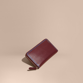 Burberry Border Detail London Leather Ziparound Wallet, Red