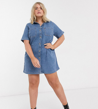 Levi's Plus denim dress in midwash blue