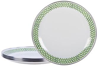Pottery Barn Golden Rabbit Green Scallop Enamel Salad Plates - Set of 4