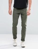 Asos Skinny Jeans In Dark Khaki