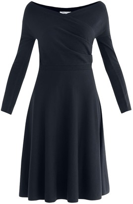 Paisie Cara Knitted Wrap Dress In Navy