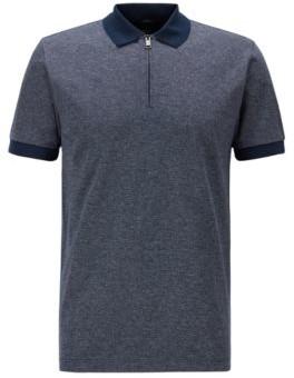 HUGO BOSS Slim Fit Zip Neck Polo Shirt In Mercerized Cotton - Dark Blue