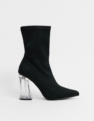 Truffle Collection clear heeled pointed sock boots in black