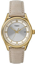 Timex Ladies Goldtone Round Watch with Embossed Leather Strap