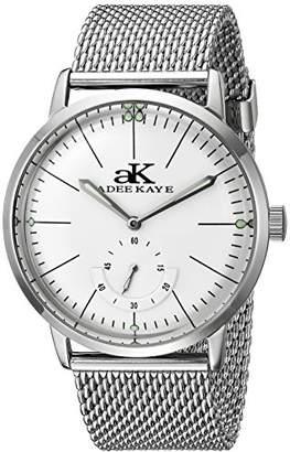 Adee Kaye Men's AK9044N-M/SV Vintage Slim Mechanical Hand-Wind Silver-Tone Stainless Steel Watch