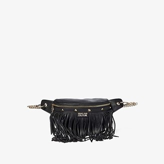 Versace Eco Leather Fringe Belt Bag (Black) Bags