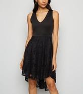 New Look Mela Lace Overlay Dip Hem Dress