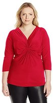 NY Collection Women's Plus-Size Solid Knit Top with Three-Quarter Sleeves