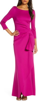 Eliza J Techno Scuba Pleat Evening Dress