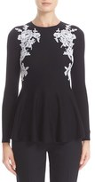 Oscar de la Renta Women's Lace Trim Merino Wool Peplum Sweater