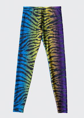 Terez Girl's Rainbow Zebra Printed Leggings, Size 7-16