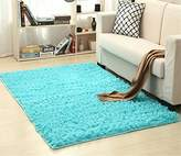 Solid Rectangle Soft Cozy Shaggy Area Rug Fluffy Thick Carpet Floor Mat for Home Living Bedroom Kids Sapphire blue