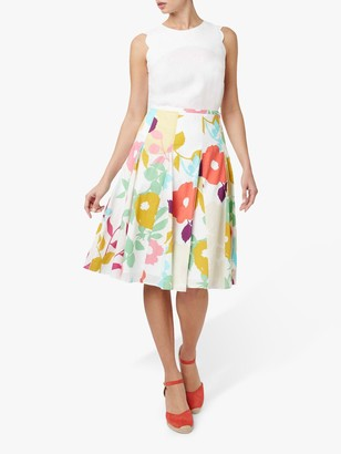 Hobbs Melina Floral Midi Skirt, White