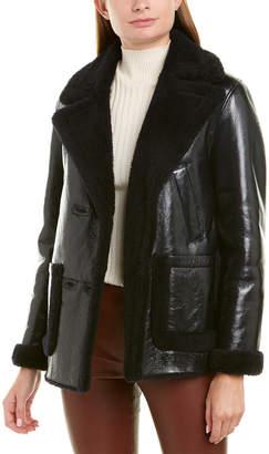 Theory Reversible Patent Shearling Jacket
