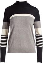 August Silk Gray & Black Stripe Turtleneck
